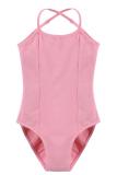 Promo Cyber Arshiner Gadis Tanpa Lengan Elastis Dancewear Senam Balet Adjustable Strap Leotard Pink Di Hong Kong Sar Tiongkok