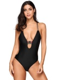 Cyber Clearance Sale Spaghetti Strap Backless Patchwork Perban One Piece Swimsuit Hitam Intl Promo Beli 1 Gratis 1