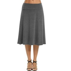 Katalog Cyber Clearance Sale Women Casual Fold Over Waist Solid Stretch Flared Midi Skirt Grey Intl Not Specified Terbaru
