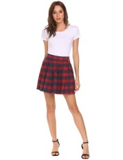Spesifikasi Cyber Clearance Sale Women Casual High Waist Mini Plaid Buttons Pleated Skirt Intl Terbaik