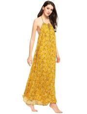 Cyber Obral Wanita Halter Tanpa Lengan Backless Floral Manado Maxi Dress (Kuning)-Intl