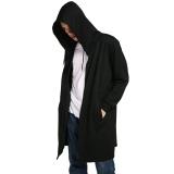 Spesifikasi Cyber Coofandy Pria Fashion Casual Solid Lengan Panjang Cape Gaya Tombol Down Long Hoodie Hitam Intl Yang Bagus