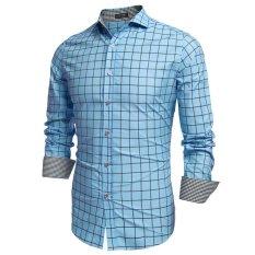 Harga Cyber Coofandy Pria Fashion Mengecilkan Collar Lengan Panjang Plaid Cotton Button Down Fesyen Pria Danau Biru Merk Unbranded