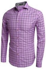 Jual Cyber Coofandy Pria Fashion Mengecilkan Collar Lengan Panjang Plaid Cotton Button Down Fesyen Pria Ungu Hong Kong Sar Tiongkok