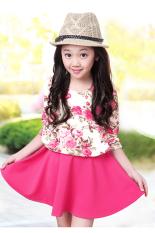 Beli Cyber Mode Anak Gadis Imut Memakai Lengan Baju Panjang Santai Indah Gaun Floral Printed Kain Perca Bang Pendek Pake Kartu Kredit