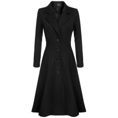 Cyber Finejo Keren Wanita Dada Wanita Pemukiman Single Ekstra Panjang Pakaian Jas Hujan Mantel (hitam)