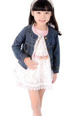Toko Cyber Gadis Lengan Panjang Jeans Mantel Lace Cute Pesta Biru Termurah