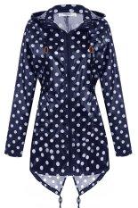 Cyber Meaneor Gadis Wanita Menghiasi Jas Hujan Fishtail Berkerudung Jaket Mantel Hujan Cetak (Biru Laut)