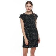 Harga Cyber Meaneor Wanita Round Leher Elastis Pinggang Cetak Kasual Cocok Pocket Dress Hitam Putih Merk Meaneor