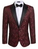 Jual Cyber Baru Pria Kasual Slim Fit Lengan Panjang Floral Slim Fit Jaket Bergaya Blazer Merah Intl Di Bawah Harga