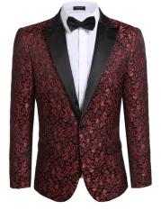 Jual Cyber Baru Pria Kasual Slim Fit Lengan Panjang Floral Slim Fit Jaket Bergaya Blazer Merah Intl Baru