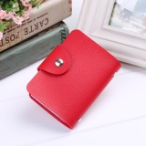 Harga Cyber New New Unisex Pu Leather 24 Cards Slots Men Women Purse Wallet Pocket Case Id Credit Card Holder Red Intl Terbaru