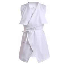 Cyber Baru Fashion Wanita Tanpa Lengan Long Windbreaker Lebih Tahan Dr Kardigan Jaket Mantel Dengan Sabuk Putih Hong Kong Sar Tiongkok