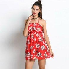 Tips Beli Cyber Wanita Tali Spageti T*l*nj*ng Pantai Kerajaan Bunga Pinggang Gaun Mini Merah Yang Bagus