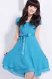 Jual Maya Bergaya Kasual Wanita Korea O Leher Lengan Bang Pendek Berlapis Gaun Jersey Rayon Biru Muda Oem Branded