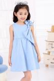Beli Cyber Summer Anak Gadis Tanpa Lengan Tinggi Pinggang Gaun Berleher O Solid Ikatan Simpul A Line Sundress Biru Oem Online