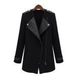 Tips Beli Cyber Musim Dingin Panjang Wanita Hangat Pu Leather Sleeve Jaket Jaket Mantel Trench Windbreaker Hitam Intl