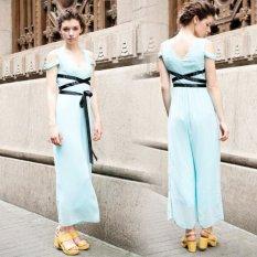Cyber Kardigan Wanita Model Panjang Tanpa Bahu V-leher Ikat Tinggi Kain (Biru)