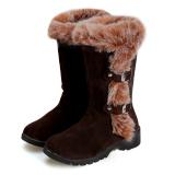 Harga Termurah Cyber Wanita Flat Sepatu Bot Salju Musim Dingin Yang Hangat Mengentalkan Kasual Sepatu Faux Fur Coklat