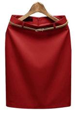 Wanita Dunia Maya Ikat Tinggi Rok Pensil Pemukiman Ol And Memulai Bekerja Formal Langsing Rok Mini Merah Terbaru