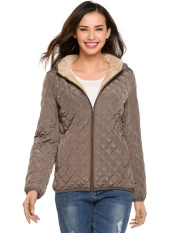Harga Hemat Cyber Wanita Jaket Bomber Ringan Berkerudung Bahan Ringan Winter Down Jaket Tipis Mantel Dengan Lapisan Bulu Domba Camel Intl