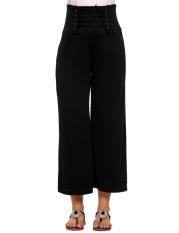 Beli Barang Cyber Wanita Lace Up High Waist Solid Longgar Lebar Kaki Fit Casual Pants Hitam Intl Online