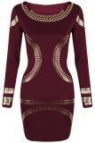 Spesifikasi Lengan Baju Panjang Wanita Dunia Maya Emas Menggagalkan Pesta Jubah Mini Bodycon Seksi Gaun Merah Anggur Bagus