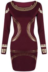 Jual Lengan Baju Panjang Wanita Dunia Maya Emas Menggagalkan Pesta Jubah Mini Bodycon Seksi Gaun Merah Anggur Oem Ori
