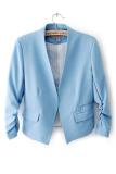 Review Tentang Cyber Wanita Ol Style Candy Color Tipis Suit Pakaian Luar 3 4 Kasual Mantel Lengan Blazer Blue