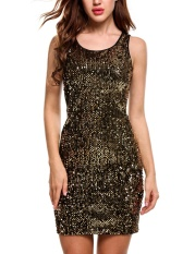 Jual Cyber Wanita Seksi O Leher Sleeveless Berpayet Patchwork Ramping Pullover Elastis Gaun Dengan Lapisan Emas Intl Grosir