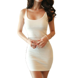 Spesifikasi Cyber Wanita Solid Slim Fit Bodycon Mini Tank Dress Putih Intl Lengkap