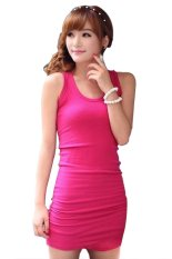 Diskon Besarcyber Women Summer S*xy Bodycon Sleeveless Casual Vest Mini Dress Red