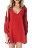 Beli Cyber Wanita Leher V Membagi Jersey Rayon Lengan Panjang Kasual Longgar Gaun Mini Merah Lengkap