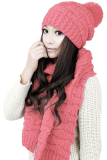 Diskon Cyber Women S Winter Knitted Scarf And Hat Set Thicken Knitting Skullcaps Pink Indonesia
