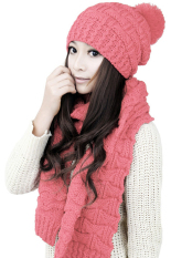 Harga Cyber Women S Winter Knitted Scarf And Hat Set Thicken Knitting Skullcaps Pink Merk Oem