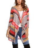 Harga Cyber Women S 3 4 Sleeve Open Front Striped Draped Asymmetrical Thin Knit Cardigan Red Intl Online Hong Kong Sar Tiongkok