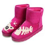 Harga Cyber Wanita Kasual Musim Dingin Hangat Pergelangan Kaki Sepatu Bot Salju Datar Sepatu Merah Mawar Online