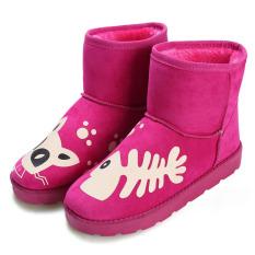Jual Cyber Wanita Kasual Musim Dingin Hangat Pergelangan Kaki Sepatu Bot Salju Datar Sepatu Merah Mawar Termurah