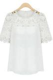 Harga Cyber Renda Wanita Lengan Baju Blus Kemeja Kasual Penyambungan Kain Sutera Tipis Puncak Putih Murah
