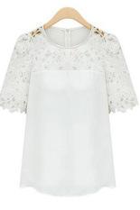 Situs Review Cyber Renda Wanita Lengan Baju Blus Kemeja Kasual Penyambungan Kain Sutera Tipis Puncak Putih