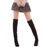 Jual Cepat Cyber Zeagoo Musim Gugur Musim Dingin Wanita Faux Suede Casual Wanita Di Atas Lutut Stretchy High Heel Boots Brown
