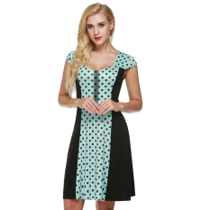 Harga Cyber Zeagoo Women Cap Sleeve Dots Flare Fit A Line Cocktail Party Dress Blue Intl Asli