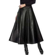 Cyber Zeagoo Women's 4 Colors High Waist Career Short Skirts Slim Kulit Imitasi Kualitas Tinggi Pinggang Lipit Ayunan Rok Maxi (hitam)-International