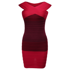 Toko Cyber Zeagoo Wanita S*xy Off Bahu Merajut Dibalut Bodycon Stretch Mini Dress Merah Di Indonesia