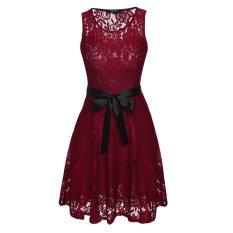 Jual Cyber Zeagoo Wanita Without Lengan Leher Bundar Mini Lipit Renda Gaun With Sabuk Merah Murah