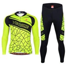 Harga Bersepeda Set Tim Pro Lengan Panjang Pria Bersepeda Jersey Neon Hijau Oem Ori