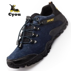 Toko Jual Cyou 2017 Baru Kedatangan Pria Tahan Air Hiking Pendakian Sepatu Suede Boots Termal Musim Dingin Outdoor Mountain Sneakers Tinggi Olahraga Sepatu Kasut Lelaki Navy Biru Intl