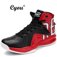 Cyou 2017 Baru Kedatangan Pria Basket Sepatu Atletik Kualitas Terbaik Olahraga Sneakers Sepatu Basket Anti Slip Plus Ukuran EUR 39 -46 Lelaki Kasut Bola Keranjang (Hitam And Merah)