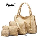 Toko Cyou 2017 Baru Fashion Mewah Perempuan Handbags Set Komposit Tas Bahu Tas Pu Kulit Totes Perancang Busana Beg Tangan Wanita Emas Murah Tiongkok