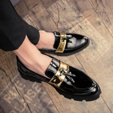 CYOU Kulit Asli Handmade Shoes Pria Vintage Mengukir Renda-up Oxfords Sepatu untuk Pria Baju Sepatu (Biru) -Intl